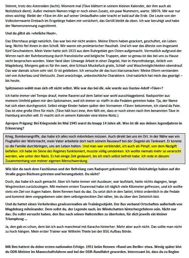 Radsportlegende 'Bewegt euch!' -  Radsportlegende Täve Schur erzählt vor seinem 90. Geburtstag von Erfolgen im Sattel, Kämpfen für den Sozialismus - und warum er ein unverbesserlicher Optimist ist - Interview: Oliver Rast - Junge Welt Ausgabe 20.02.2021 - RADSPORTLEGENDE - Wochenendbeilage - Aus dem Posteingang von Siegfried Dienel vom 25.02.2021 - Abschnitt 1