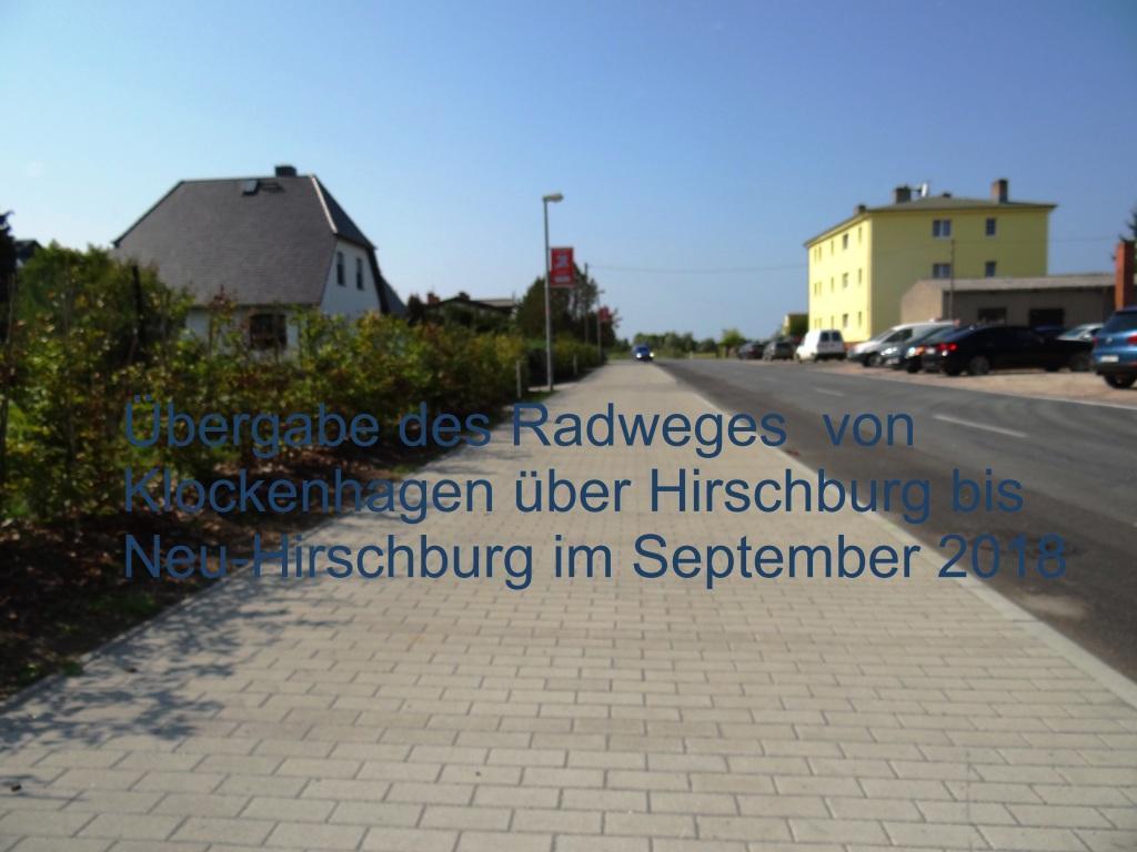 Übergabe des Radweges von Klockenhagen über Hirschburg bis Neu-Hirschburg am 3. September 2018. Foto: Eckart Kreitlow