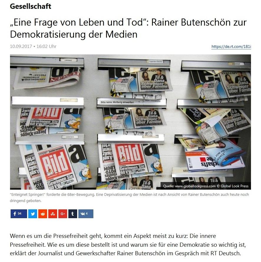 Gesellschaft - 'Eine Frage von Leben und Tod': Rainer Butenschön zur Demokratisierung der Medien