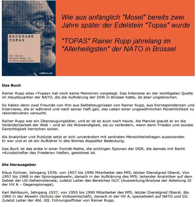 Das Buch Deckname TOPAS über Rainer Rupp - der aktivste Agent aller Zeiten