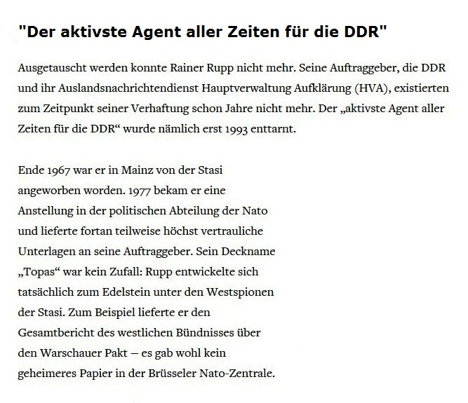 Rainer Rupp - der aktivste Agent aller Zeiten