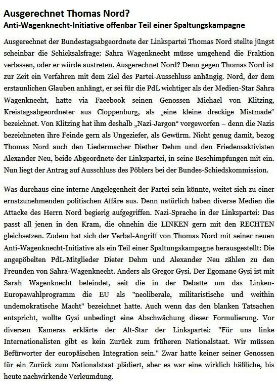 Rationalgalerie - eine Plattform für Nachdenker und Vorläufer - Putsch-Versuch gegen Wagenknecht - Gregor Gysi zieht Strippen, Thomas Nord hampelt daran - Autor: Ulrich Gellermann