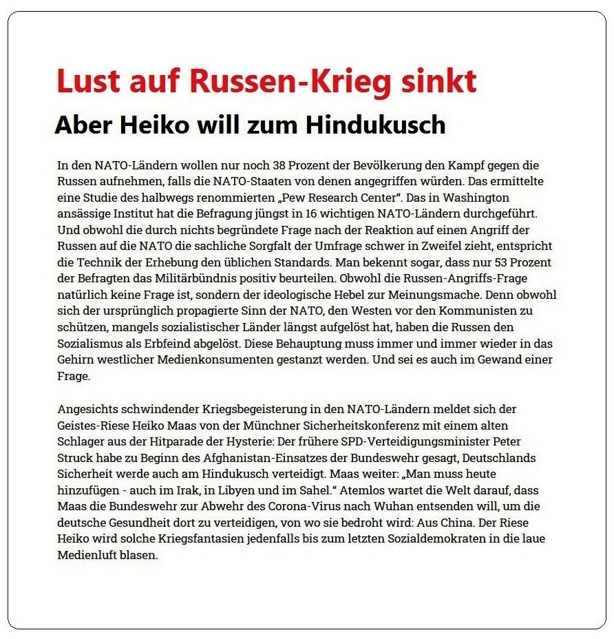 Lust auf Russen-Krieg sinkt - Aber Heiko will zum Hindukusch - Rationalgalerie - eine Plattform für Nachdenker und Vorläufer