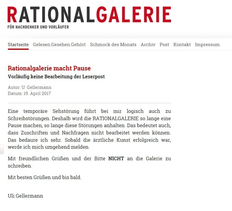 Rationalgalerie macht Pause
