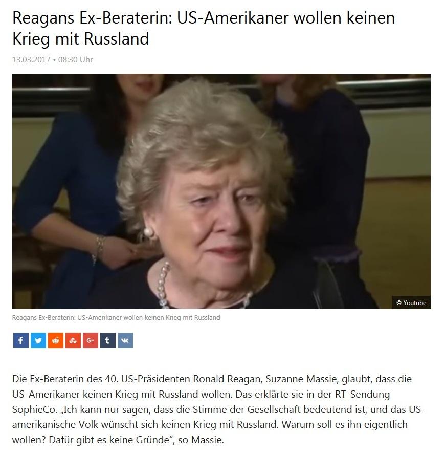 Reagans Ex-Beraterin: US-Amerikaner wollen keinen Krieg mit Russland