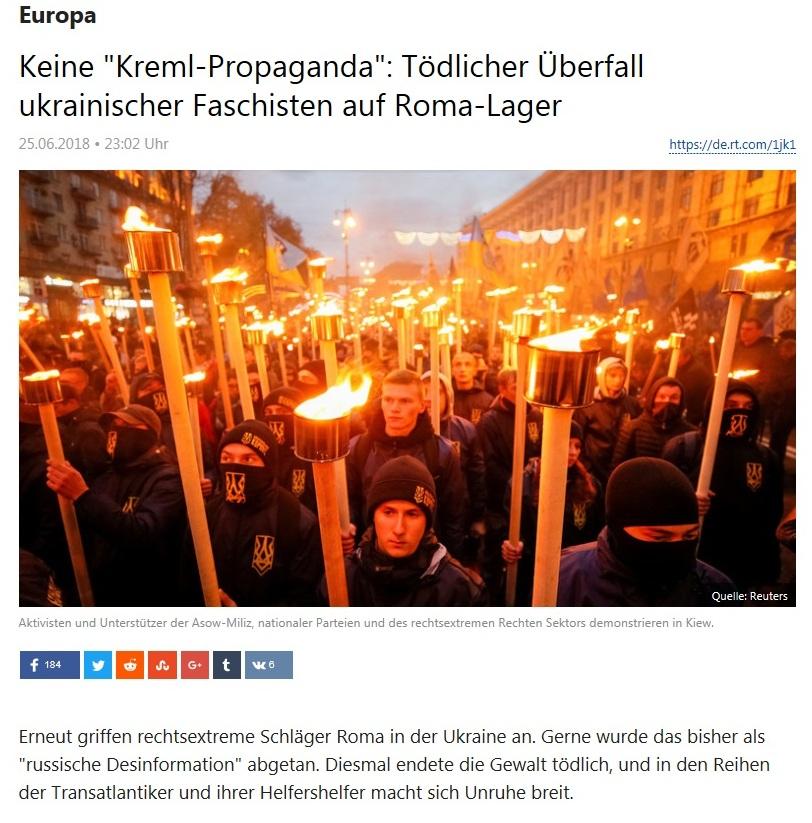 Europa - Keine 'Kreml-Propaganda': Tödlicher Überfall ukrainischer Faschisten auf Roma-Lager  - Rechtsextremismus in der Ukraine -
