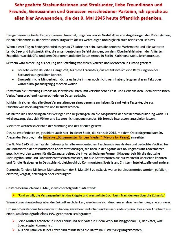 Feierliche Kranzniederlegung am 8. 5. 2021 am Sowjetischen Ehrenmal in Stralsund - Rede von Bernd Buxbaum  - Aus dem Posteingang von Siegfried Dienel vom 17.05.2021 - Abschnitt 1
