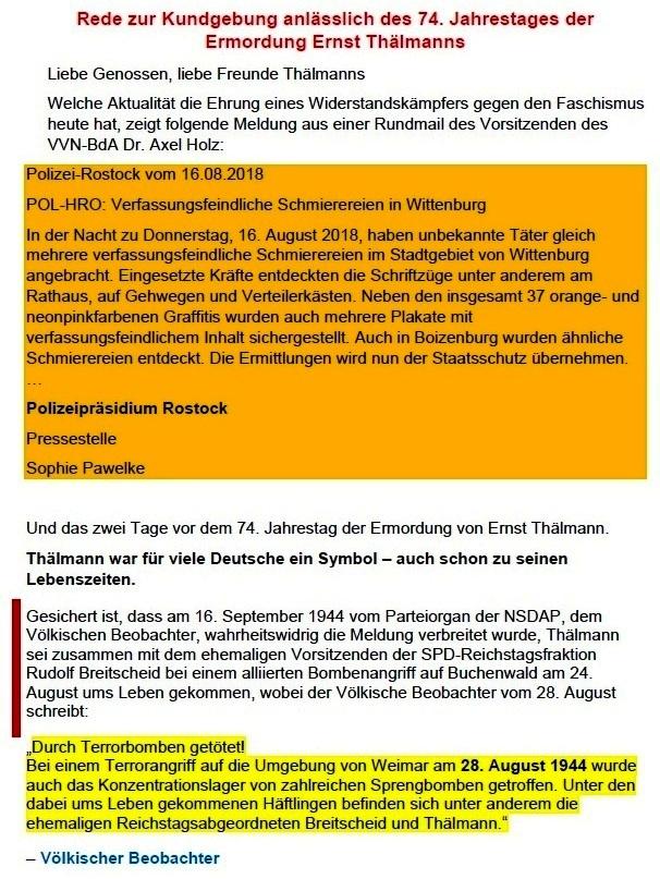 Rede von Siegfried Dienel auf der Kundgebung am 18. August 2018 in Stralsund anlässlich des 74. Jahrestages der Ermordung Ernst Thälmanns - Aus dem Posteingang von Siegfried Dienel vom 11.03.2021 - Abschnitt 1
