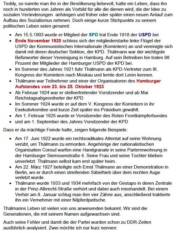Rede von Siegfried Dienel auf der Kundgebung am 18. August 2018 in Stralsund anlässlich des 74. Jahrestages der Ermordung Ernst Thälmanns - Aus dem Posteingang von Siegfried Dienel vom 11.03.2021 - Abschnitt 3