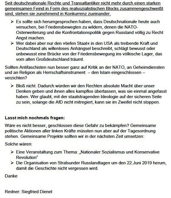 Rede von Siegfried Dienel auf der Kundgebung am 18. August 2018 in Stralsund anlässlich des 74. Jahrestages der Ermordung Ernst Thälmanns - Aus dem Posteingang von Siegfried Dienel vom 11.03.2021 - Abschnitt 5