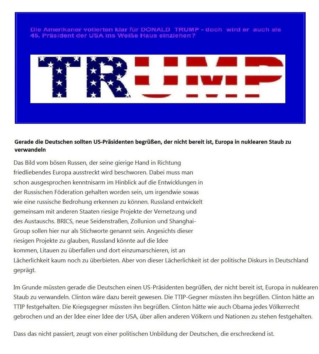 Trump – Über Erschütterungen im deutschen Establishment  - Reduziert US-Präsident Donald Trump die Nuklearkriegsgefahr in Europa?