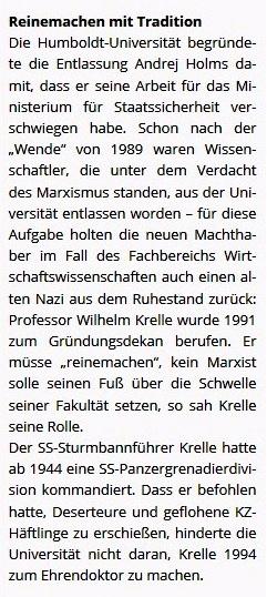 Solidarität mit Dr. Andrej Holm reißt nicht ab. Reinemachen mit Tradition an der Humboldt-Universität zu Berlin. Auch Mietinitiativen solidarisch mit Ex-Staatssekretär