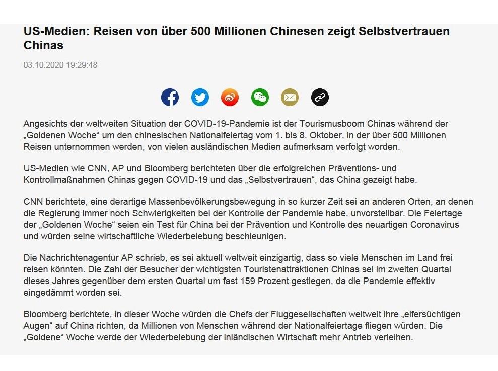 US-Medien: Reisen von über 500 Millionen Chinesen zeigt Selbstvertrauen Chinas -  CRI online Deutsch - 03.10.2020