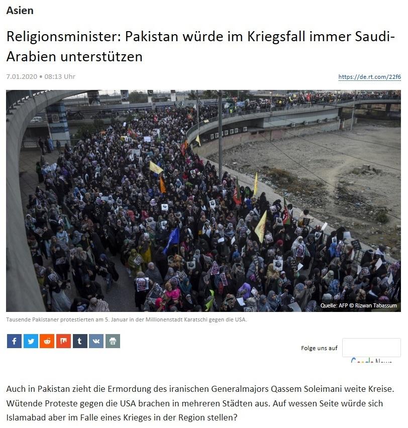 Asien - Religionsminister: Pakistan würde im Kriegsfall immer Saudi-Arabien unterstützen