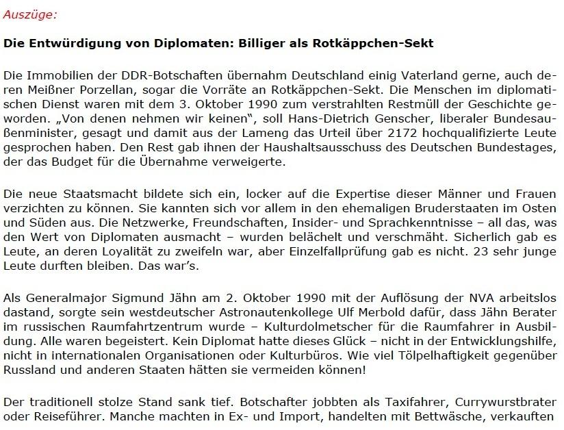 Replik auf den Spiegel: Der Hamburger Spiegel schreibt positiv über den Osten, und wir sagen 'Danke!' - Berliner Zeitung - 06.06.2021 - Berliner Zeitung: Abwicklung DDR: Diplomaten / Treuhand / Palast der Republik - Aus dem Posteingang vom 13.06.2021 von Dr. Marianne Linke - Link: https://www.berliner-zeitung.de/wochenende/der-hamburger-spiegel-schreibt-positiv-ueber-den-osten-und-wir-sagen-danke-li.162776 - Teil 2