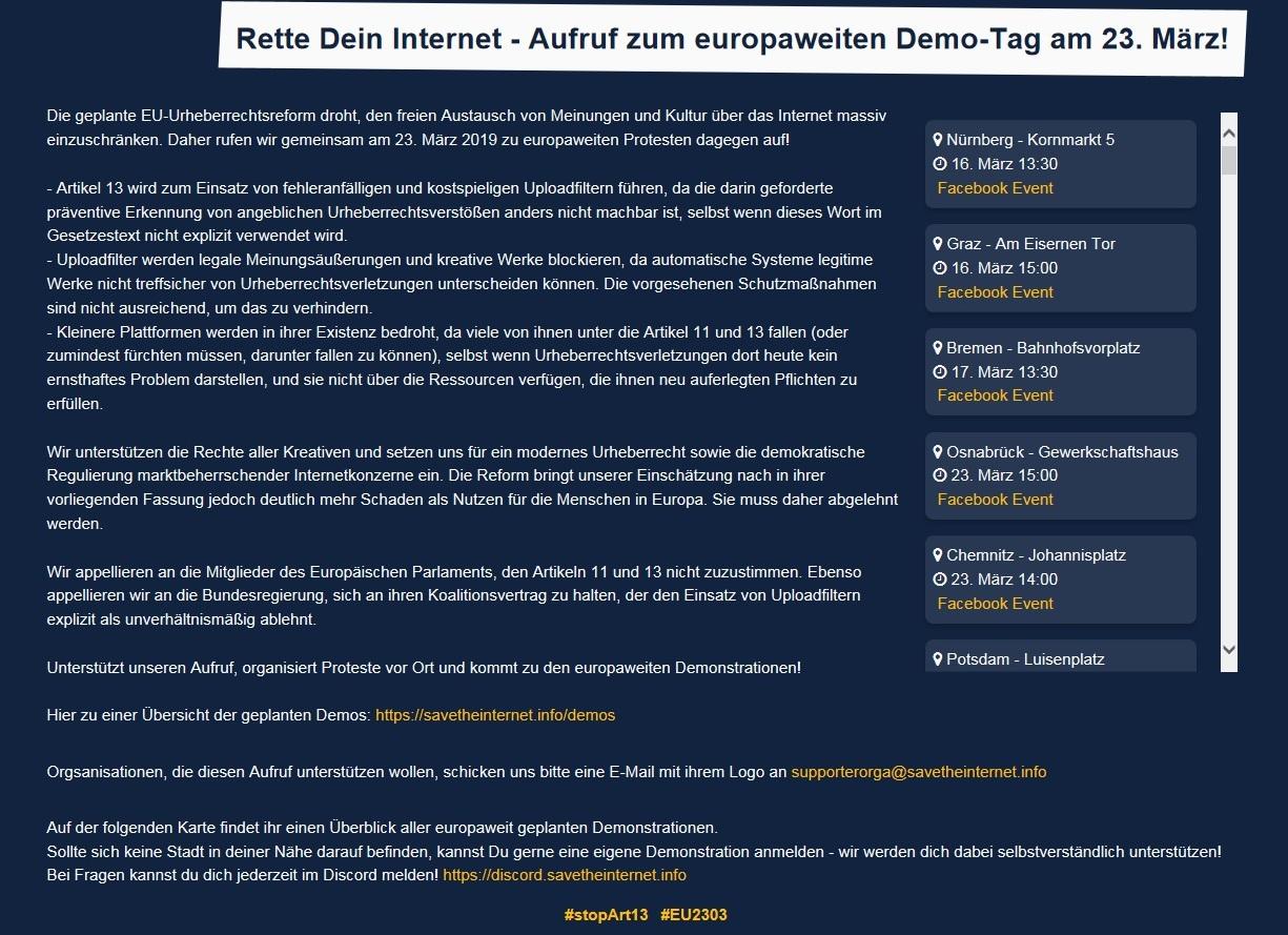 Rette Dein Internet - Aufruf zum europa-weiten Demo-Tag am 23. März!