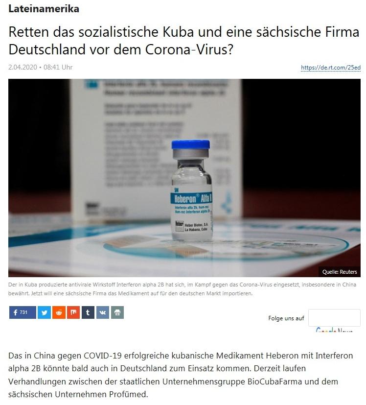 Lateinamerika - Retten das sozialistische Kuba und eine sächsische Firma Deutschland vor dem Corona-Virus?  - RT Deutsch - 2.04.2020