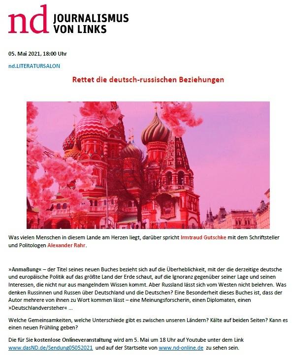 Rettet die deutsch-russischen Beziehungen - ND  - Aus dem Posteingang von Siegfried Dienel vom 05.05.2021