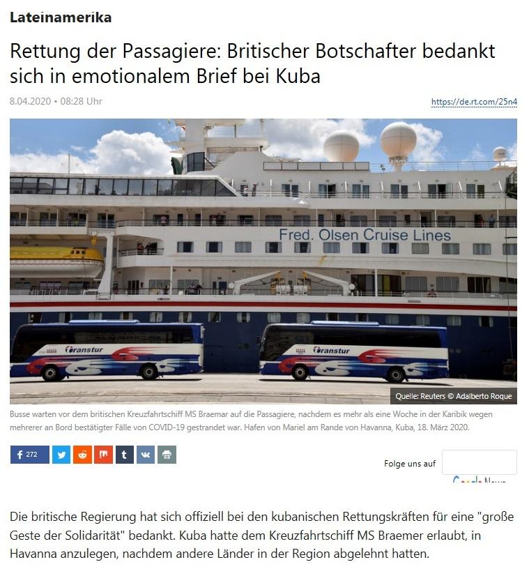 Lateinamerika - Rettung der Passagiere: Britischer Botschafter bedankt sich in emotionalem Brief bei Kuba - RT Deutsch - 8.04.2020
