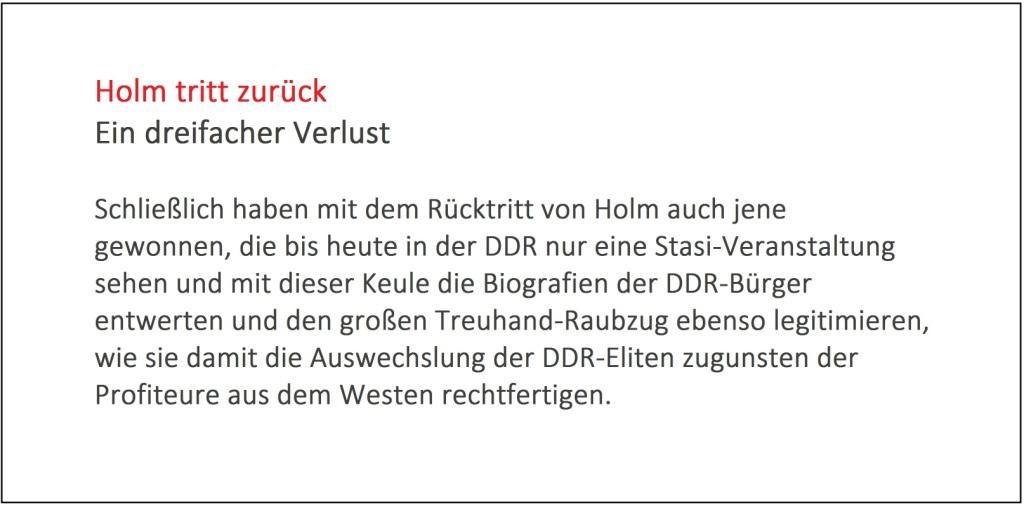 Holm tritt zurück - Ein dreifacher Verlust - Rationalgalerie.de - Autor des Beitrages:  Ulrich Gellermann - Datum: 16. Januar 2017