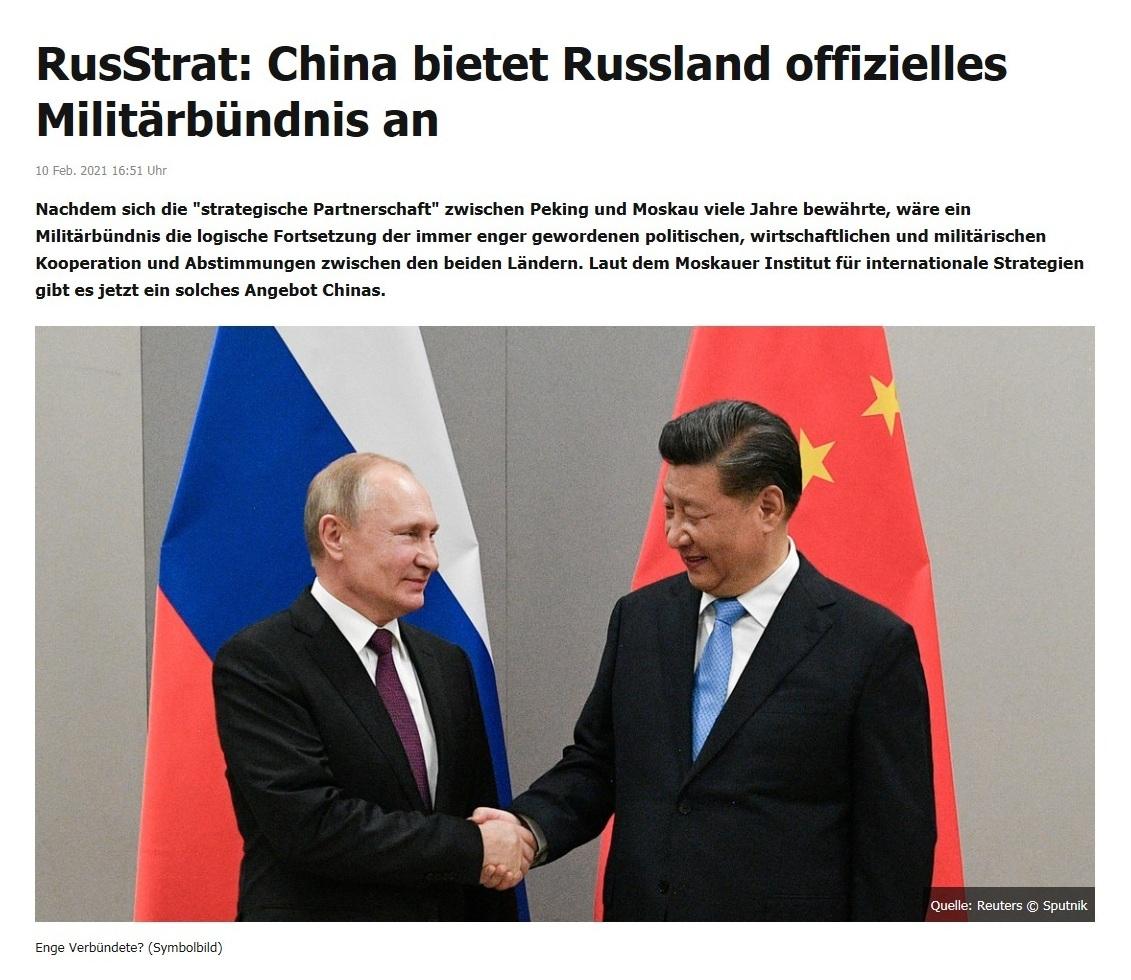 RusStrat: China bietet Russland offizielles Militärbündnis an - RT DE - 10 Feb. 2021 16:51 Uhr
