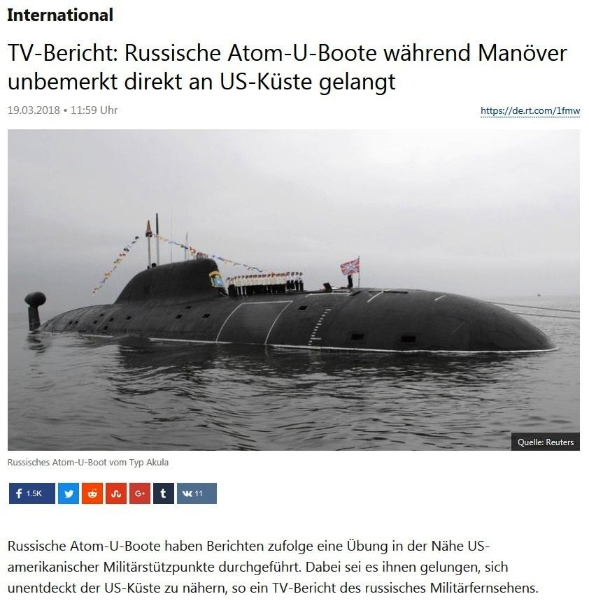 International - TV-Bericht: Russische Atom-U-Boote während Manöver unbemerkt direkt an US-Küste gelangt