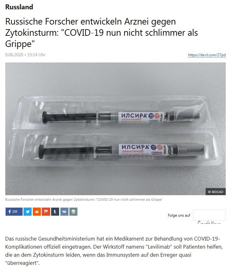 Russland - Russische Forscher entwickeln Arznei gegen Zytokinsturm: 'COVID-19 nun nicht schlimmer als Grippe' - RT Deutsch - 09.06.2020
