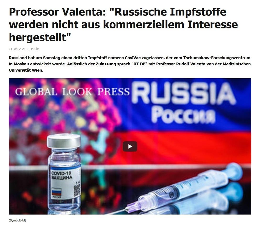 Professor Valenta: 'Russische Impfstoffe werden nicht aus kommerziellem Interesse hergestellt' - RT DE - 24 Feb. 2021 19:44 Uhr