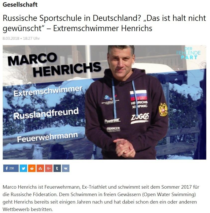 Gesellschaft - Russische Sportschule in Deutschland? 'Das ist halt nicht gewünscht' – Extremschwimmer Henrichs