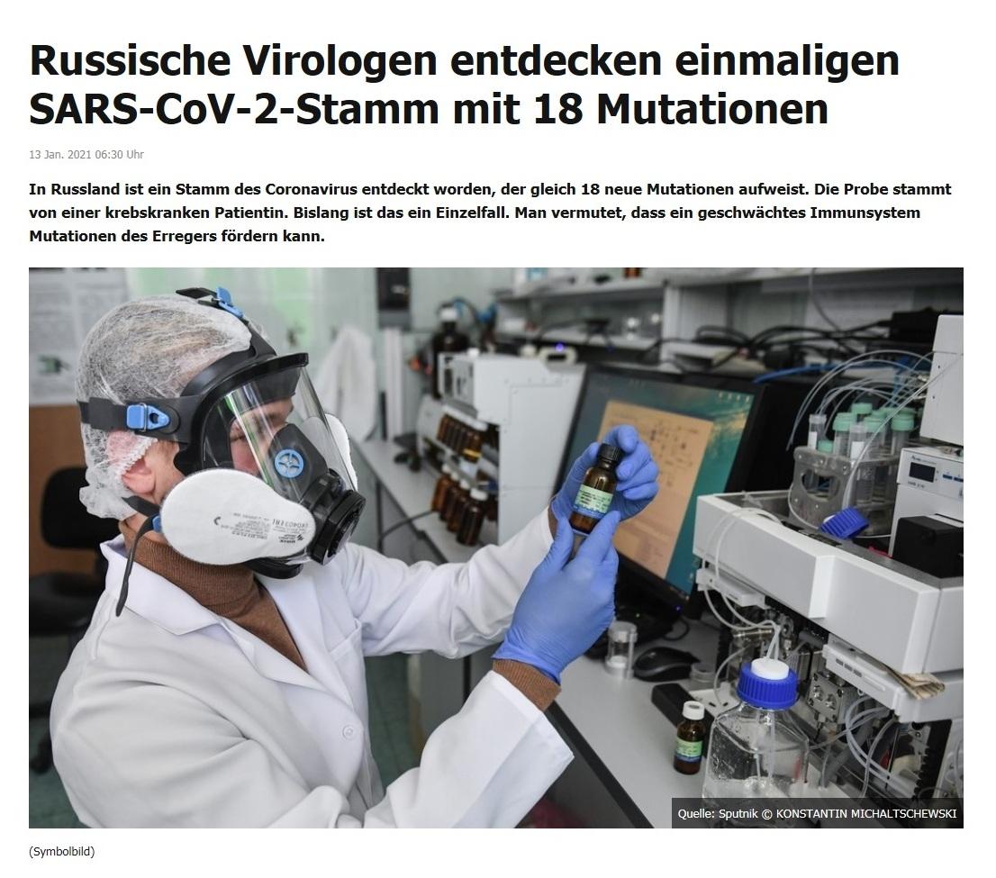 Russische Virologen entdecken einmaligen SARS-CoV-2-Stamm mit 18 Mutationen - RT DE - 13 Jan. 2021 06:30 Uhr