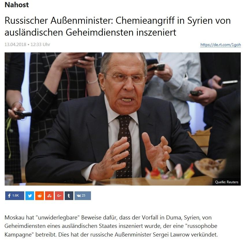 Nahost - Russischer Außenminister: Chemieangriff in Syrien von ausländischen Geheimdiensten inszeniert