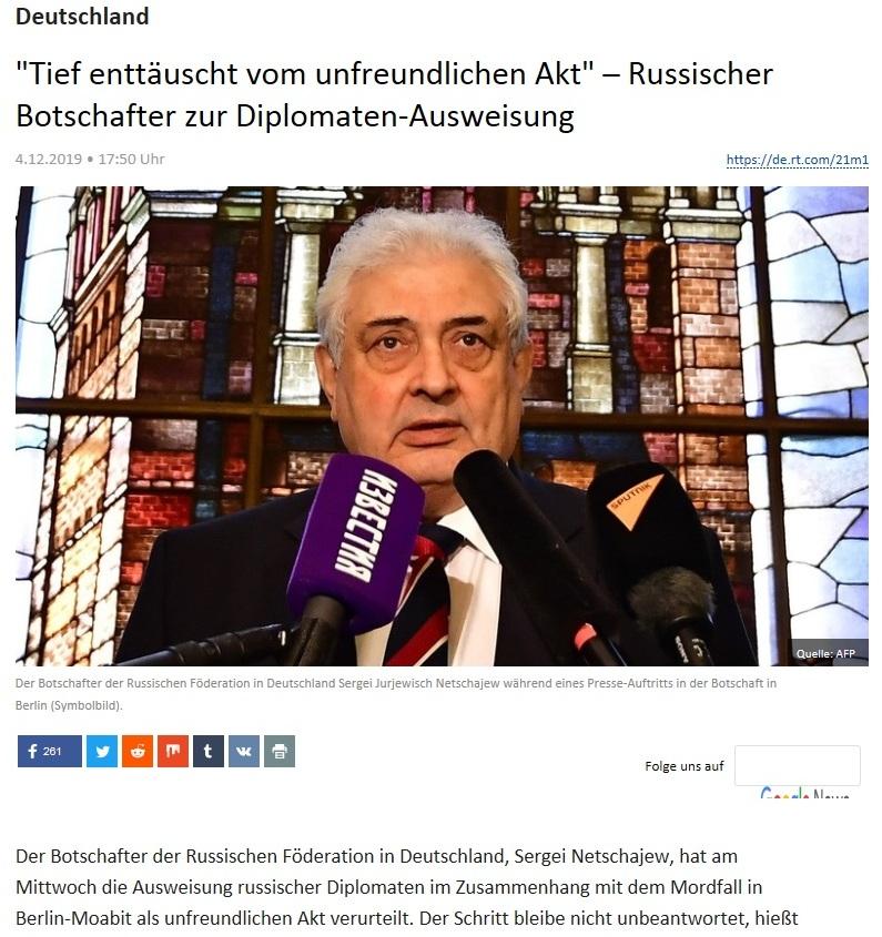 Deutschland - 'Tief enttäuscht vom unfreundlichen Akt' – Russischer Botschafter zur Diplomaten-Ausweisung