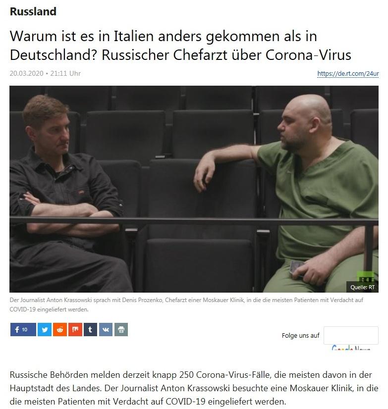 Russland - Warum ist es in Italien anders gekommen als in Deutschland? Russischer Chefarzt über Corona-Virus  - RT Deutsch - 20.03.2020