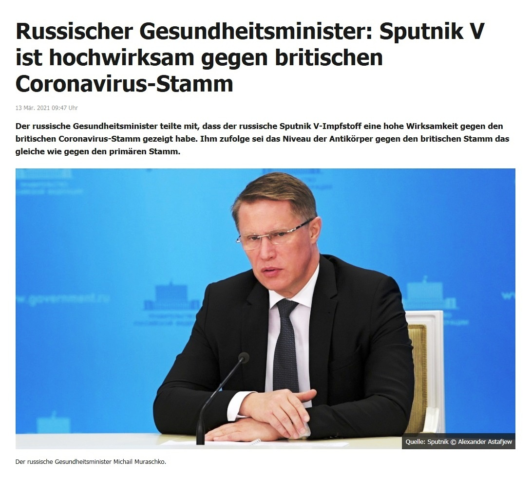 Russischer Gesundheitsminister: Sputnik V ist hochwirksam gegen britischen Coronavirus-Stamm -  RT DE - 13 Mär. 2021 09:47 Uhr