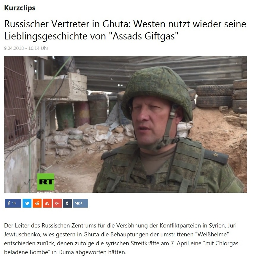 Kurzclips - Russischer Vertreter in Ghuta: Westen nutzt wieder seine Lieblingsgeschichte von 'Assads Giftgas'