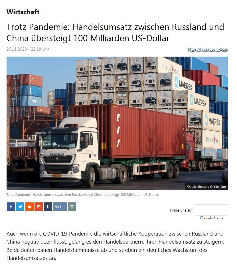 Wirtschaft - Trotz Pandemie: Handelsumsatz zwischen Russland und China übersteigt 100 Milliarden US-Dollar - RT Deutsch - 26.11.2020