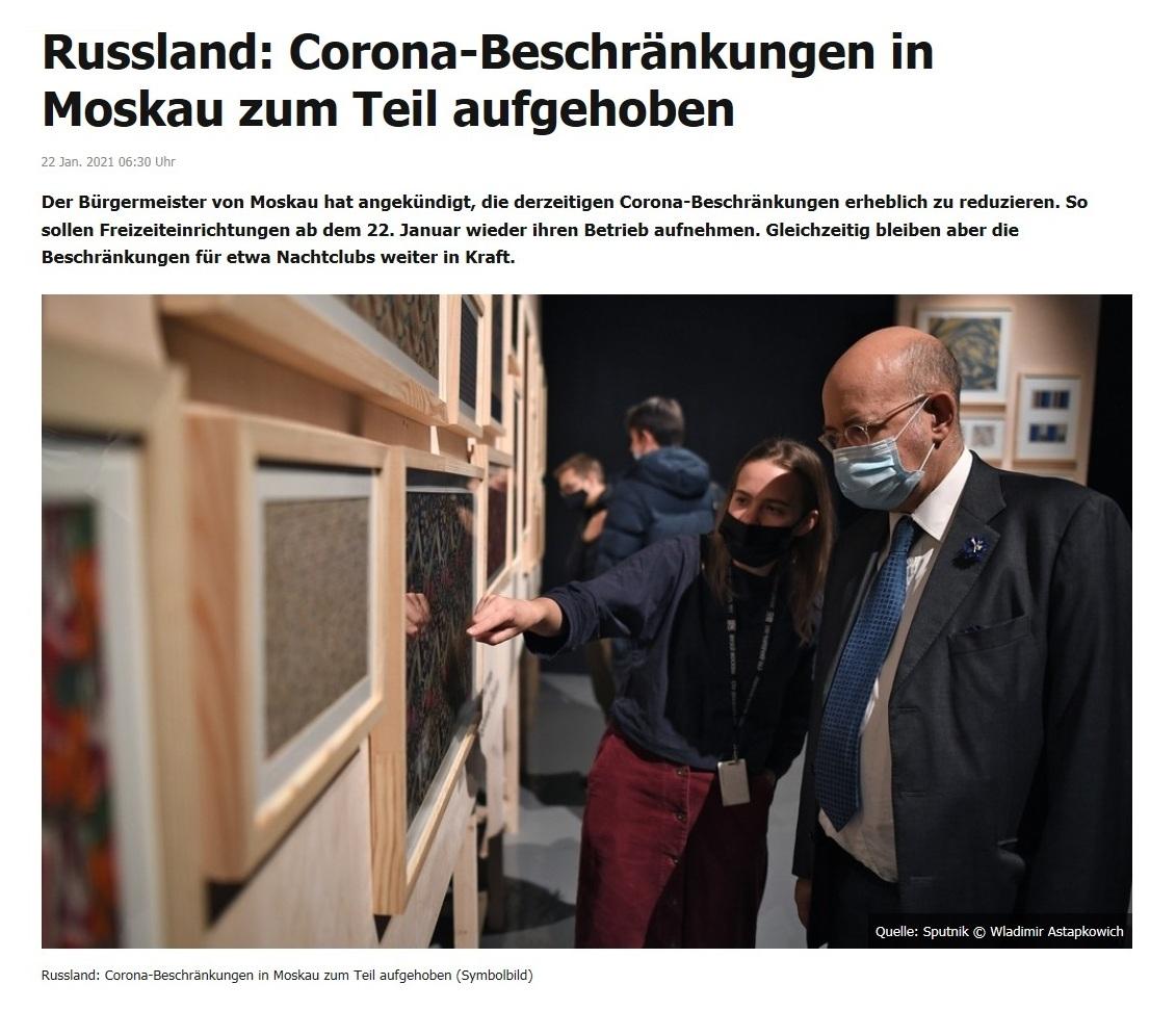 Russland: Corona-Beschränkungen in Moskau zum Teil aufgehoben - RT DE - 22 Jan. 2021 06:30 Uhr
