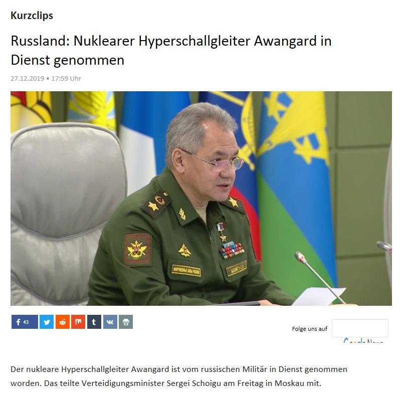 Kurzclips - Russland: Nuklearer Hyperschallgleiter Awangard in Dienst genommen