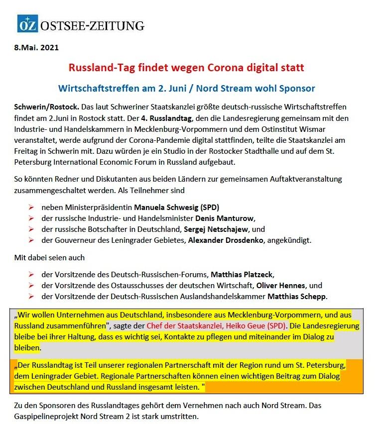 Russland-Tag findet wegen Corona digital statt - Ostsee-Zeitung 08.05.2021 - Aus dem Posteingang von Siegfried Dienel vom 17.05.2021 - Abschnitt 1