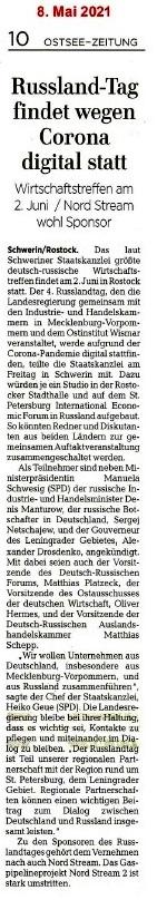 Russland-Tag findet wegen Corona digital statt - Ostsee-Zeitung 08.05.2021 - Aus dem Posteingang von Siegfried Dienel vom 17.05.2021 - Abschnitt 2