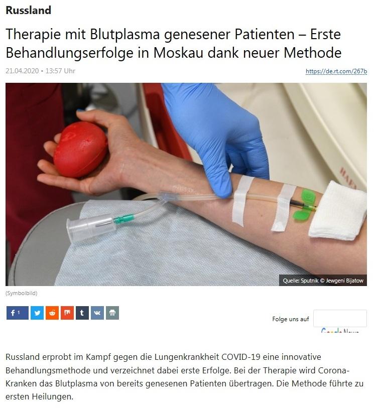Russland - Therapie mit Blutplasma genesener Patienten – Erste Behandlungserfolge in Moskau dank neuer Methode  - RT Deutsch - 21.04.2020
