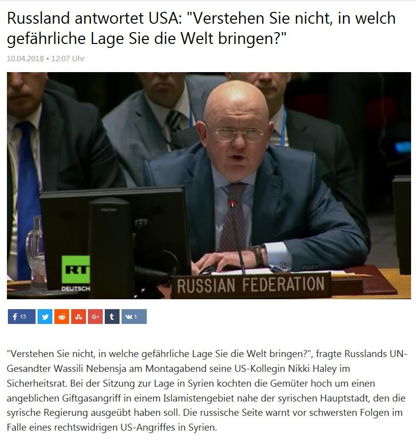 Kurzclips -  Russland antwortet USA: 'Verstehen Sie nicht, in welch gefährliche Lage Sie die Welt bringen?'