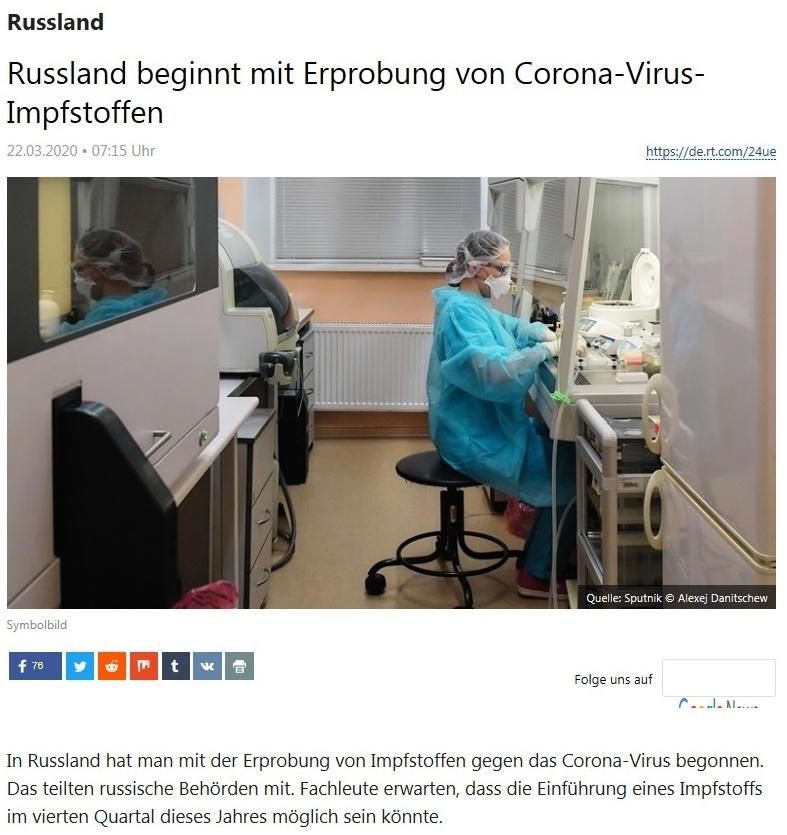 Russland - Russland beginnt mit Erprobung von Corona-Virus-Impfstoffen - RT Deutsch - 22.03.2020
