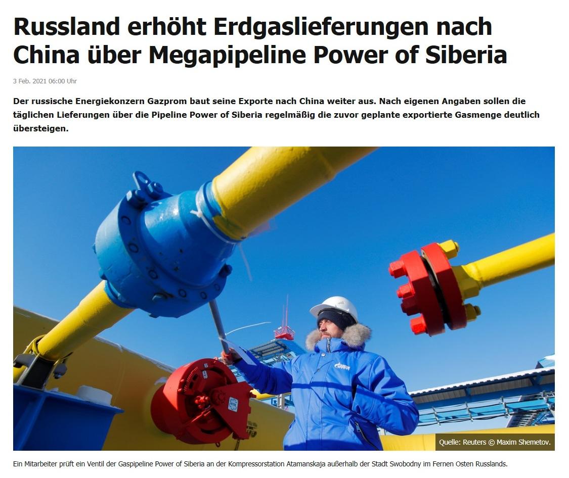 Russland erhöht Erdgaslieferungen nach China über Megapipeline Power of Siberia - Der russische Energiekonzern Gazprom baut seine Exporte nach China weiter aus. Nach eigenen Angaben sollen die täglichen Lieferungen über die Pipeline Power of Siberia regelmäßig die zuvor geplante exportierte Gasmenge deutlich übersteigen.  - RT DE - 3 Feb. 2021 06:00 Uhr