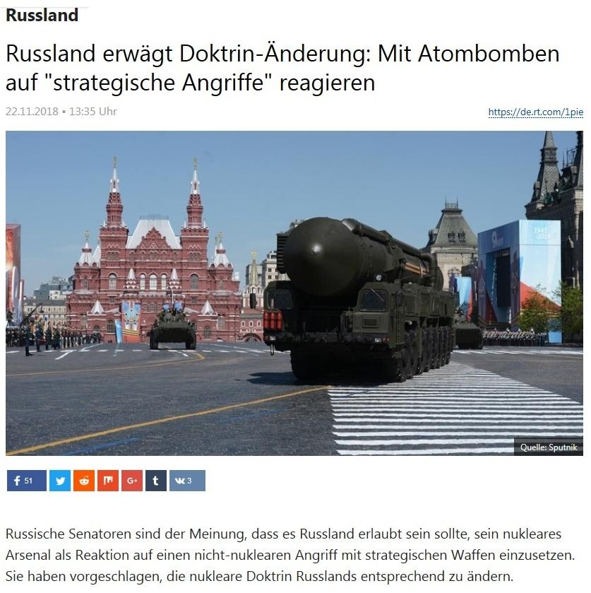 Russland - Russland erwägt Doktrin-Änderung: Mit Atombomben auf 'strategische Angriffe' reagieren