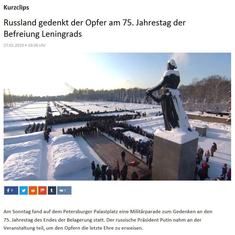 Kurzclips - Russland gedenkt der Opfer am 75. Jahrestag der Befreiung Leningrads