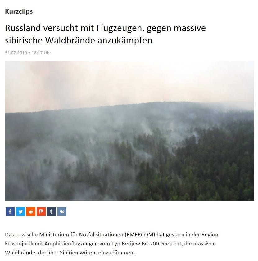 Kurzclips - Russland versucht mit Flugzeugen, gegen massive sibirische Waldbrände anzukämpfen