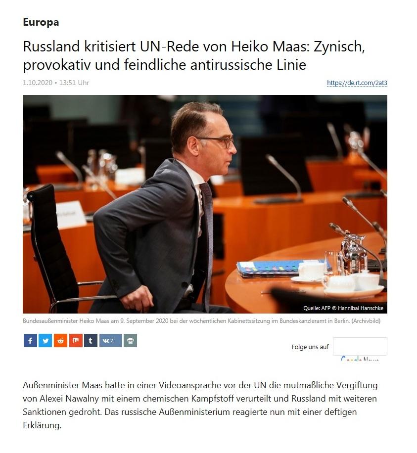 Europa - Russland kritisiert UN-Rede von Heiko Maas: Zynisch, provokativ und feindliche antirussische Linie  - RT Deutsch - 01.10.2020
