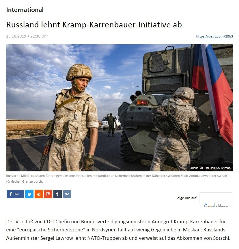 International - Russland lehnt Kramp-Karrenbauer-Initiative ab