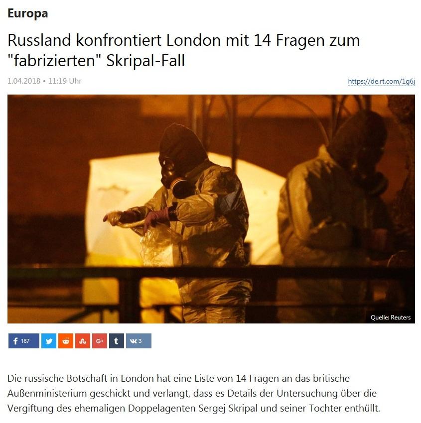Europa - Russland konfrontiert London mit 14 Fragen zum 'fabrizierten' Skripal-Fall